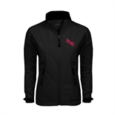 Ladies Black Softshell Jacket-AAMU Stacked
