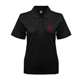 Ladies Easycare Black Pique Polo-Official Logo