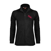Ladies Fleece Full Zip Black Jacket-AAMU Stacked