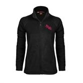 Ladies Fleece Full Zip Black Jacket-AAMU Stacked
