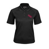 Ladies Black Textured Saddle Shoulder Polo-AAMU Stacked