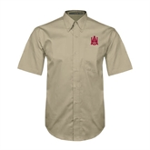 Khaki Twill Button Down Short Sleeve-Official Logo