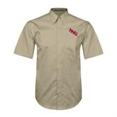 Khaki Twill Button Down Short Sleeve-AAMU Stacked