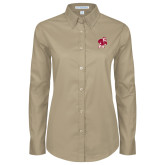 Ladies Khaki Twill Button Down Long Sleeve-Bulldog