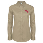 Ladies Khaki Twill Button Down Long Sleeve-AAMU Stacked
