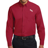 Cardinal Twill Button Down Long Sleeve-AAMU Stacked