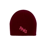 Maroon Knit Beanie-AAMU Stacked