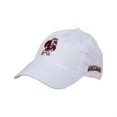 White Twill Unstructured Low Profile Hat-Bulldog