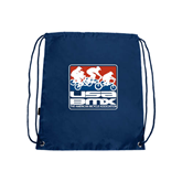 Nylon Navy Drawstring Backpack-Riders on Stacked USA BMX