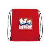 Nylon Red Drawstring Backpack-Riders on Stacked USA BMX