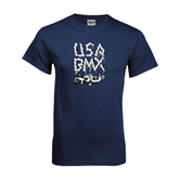 Navy T Shirt-Black USA BMX Chain Letters