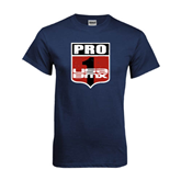 Navy T Shirt-PRO 1 USA BMX Shield Distressed