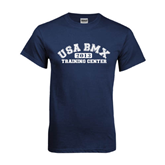 Navy T Shirt-Arched USA BMX 2014 Training Center
