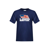 Youth Navy T Shirt-Flag on Stacked USA BMX