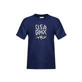Youth Navy T Shirt-Black USA BMX Chain Letters