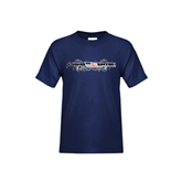 Youth Navy T Shirt-USA BMX w/Flag and Swirls