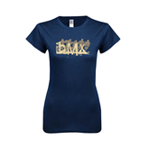 Next Level Ladies SoftStyle Junior Fitted Navy Tee-USA BMX 5 Riders