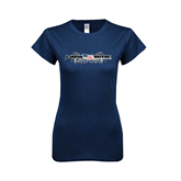 Next Level Ladies SoftStyle Junior Fitted Navy Tee-USA BMX w/Flag and Swirls