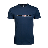 Next Level SoftStyle Navy T Shirt-USA BMX w/Flag In Between