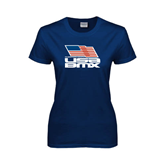 Ladies Navy T Shirt-Flag on Stacked USA BMX