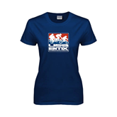 Ladies Navy T Shirt-Riders on Stacked USA BMX
