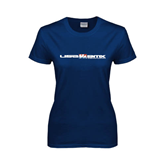 Ladies Navy T Shirt-USA BMX w/Riders Between