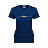 Ladies Navy T Shirt-USA BMX w/Flag In Between
