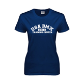 Ladies Navy T Shirt-Arched USA BMX 2014 Training Center