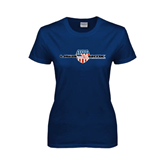 Ladies Navy T Shirt-USA BMX w/Flag Shield