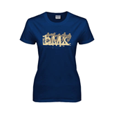 Ladies Navy T Shirt-USA BMX 5 Riders