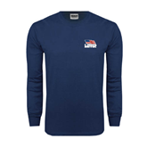 Navy Long Sleeve T Shirt-Flag on Stacked USA BMX