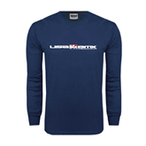 Navy Long Sleeve T Shirt-USA BMX w/Riders Between