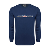 Navy Long Sleeve T Shirt-USA BMX w/Flag In Between