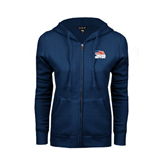 ENZA Ladies Navy Fleece Full Zip Hoodie-Flag on Stacked USA BMX