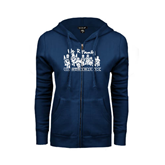 ENZA Ladies Navy Fleece Full Zip Hoodie-We R Family