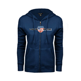 ENZA Ladies Navy Fleece Full Zip Hoodie-USA BMX w/Flag Shield