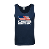 Navy Tank Top-Flag on Stacked USA BMX