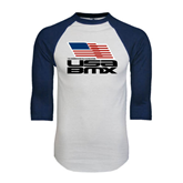 White/Navy Raglan Baseball T-Shirt-Flag on Stacked USA BMX