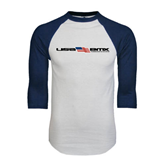 White/Navy Raglan Baseball T-Shirt-USA BMX w/Flag In Between