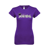 Next Level Ladies Softstyle Junior Fitted Purple Tee-Purple USA BMX Girl