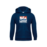 Youth Navy Fleece Hood-Riders on Stacked USA BMX