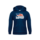 Youth Navy Fleece Hood-Flag on Stacked USA BMX