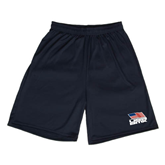 Syntrel Performance Navy 9 Inch Length Shorts-Flag on Stacked USA BMX