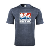 Performance Navy Heather Contender Tee-Riders on Stacked USA BMX