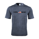 Performance Navy Heather Contender Tee-USA BMX w/Flag In Between