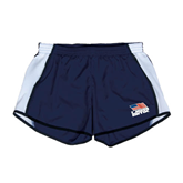 Ladies Navy/White Team Short-Flag on Stacked USA BMX