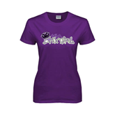 Ladies Purple T Shirt-Purple USA BMX Girl