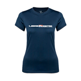 Ladies Syntrel Performance Navy Tee-USA BMX w/Riders Between