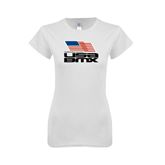 Next Level Ladies SoftStyle Junior Fitted White Tee-Flag on Stacked USA BMX