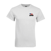 White T Shirt-Flag on Stacked USA BMX